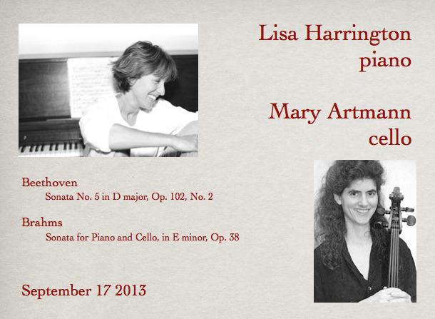 Mary Artmann, cello / Lisa Harrington, piano