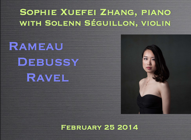 Sophie Xuefei Zhang, piano with Solenn Séguillon, violin