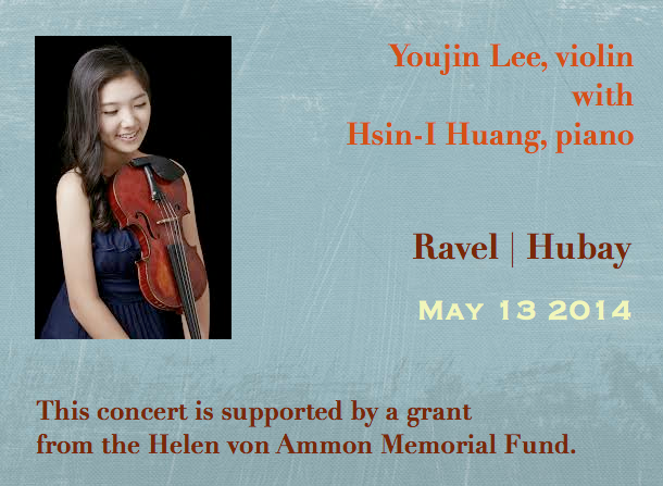 Youjin Lee, violin with Hsin-I Huang, piano