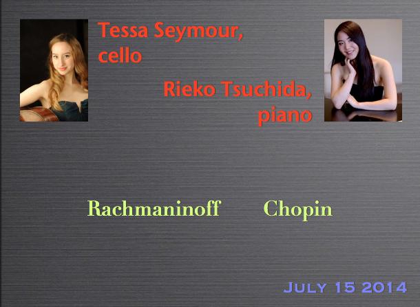Tessa Seymour, cello / Rieko Tsuchida, piano