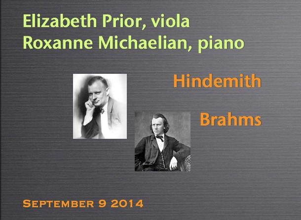 Elizabeth Prior, viola / Roxanne Michaelian, piano