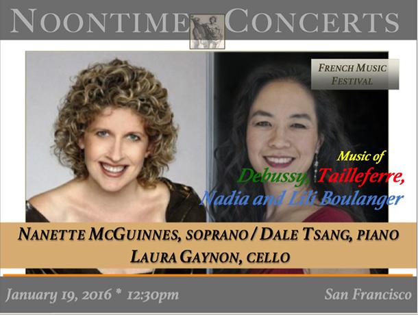 Nanette McGuinnes, soprano / Dale Tsang, piano / Laura Gaynon, cello